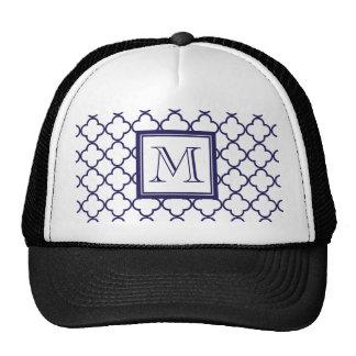 Navy Blue, White Quatrefoil | Your Monogram Trucker Hat
