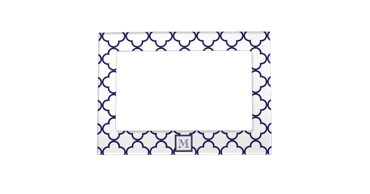 Navy Blue White Quatrefoil Your Monogram Magnetic Picture Frame Zazzle Com Au