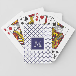 Navy Blue, White Quatrefoil | Your Monogram Playing Cards