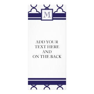 Navy Blue, White Quatrefoil | Your Monogram Custom Rack Card