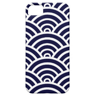 Navy Blue & White Scallop Pattern iPhone 5 Cover