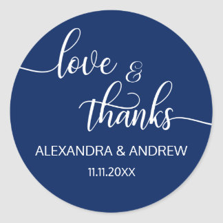 Navy Blue White Script Wedding Love & Thanks Classic Round Sticker