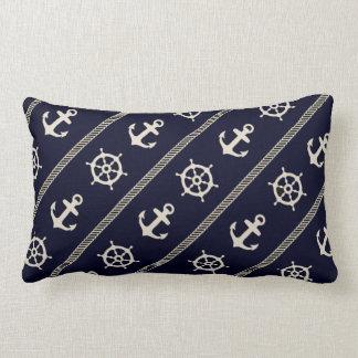 Navy Blue White Ship Wheel Anchor Nautical Boys Lumbar Pillow