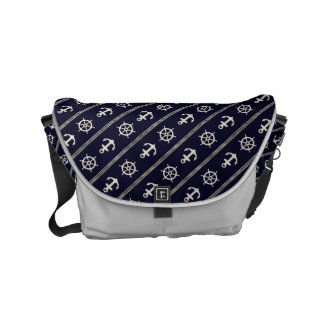Navy Blue White Ship Wheel Anchor Nautical Courier Bag