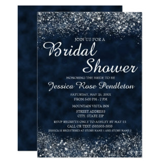 Navy Blue White Stardust Bridal Shower Invitation