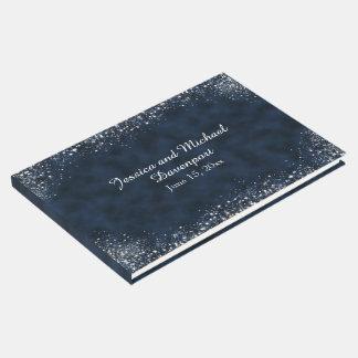 Navy Blue White Stardust Wedding Guestbook