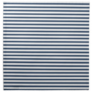 Navy Blue - White Stripe Cloth Napkins