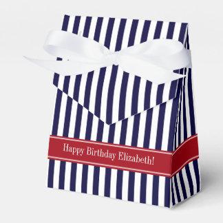 Navy Blue White Stripe Cranberry Name Monogram Favour Box
