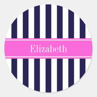 Navy Blue White Stripe Hot Pink Name Monogram Round Sticker
