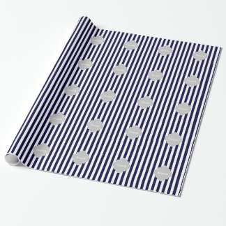 Navy Blue White Stripe Lt Gray Quatrefoil Monogram Wrapping Paper