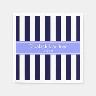 Navy Blue White Stripe Periwinkle Name Monogram Disposable Napkin