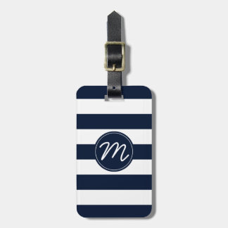 Navy Blue & White Stripe Personalized Bag Tag