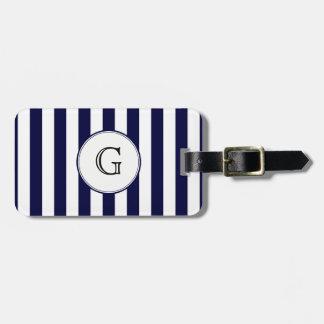 Navy Blue White Stripe Round Wht Monogram Label Luggage Tag