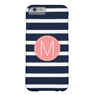 Navy Blue & White Stripe with Coral Monogram Barely There iPhone 6 Case