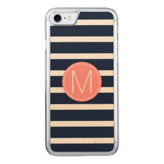 Navy Blue & White Stripe with Coral Monogram Carved iPhone 7 Case