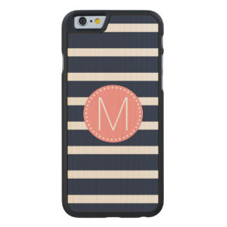 Navy Blue & White Stripe with Coral Monogram Carved® Maple iPhone 6 Slim Case