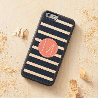 Navy Blue & White Stripe with Coral Monogram Maple iPhone 6 Bumper