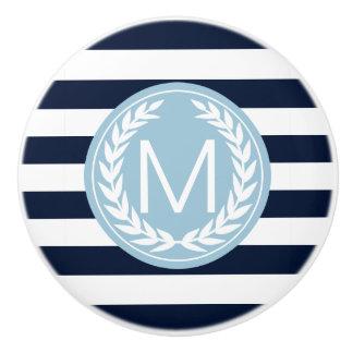 Navy Blue & White Stripe with Light Blue Monogram Ceramic Knob