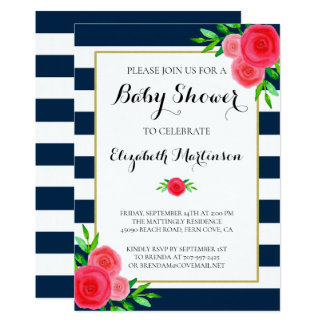 Navy Blue White Striped Coral Floral Baby Shower Card