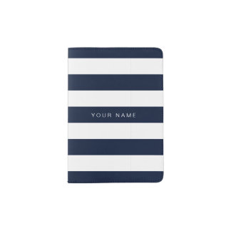 Navy blue & White Striped Passport Holder
