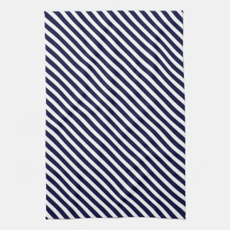 Navy Blue & White Striped Pattern Tea Towel