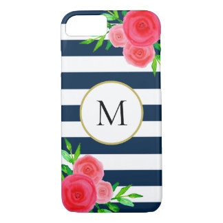 Navy Blue White Striped Watercolor Floral Monogram iPhone 8/7 Case