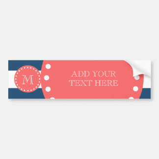 Navy Blue White Stripes Pattern, Coral Monogram Car Bumper Sticker
