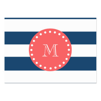 Navy Blue White Stripes Pattern, Coral Monogram Business Card Template