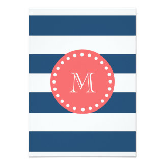 Navy Blue White Stripes Pattern, Coral Monogram Personalized Invitation