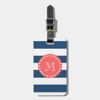 Navy Blue White Stripes Pattern, Coral Monogram Tag For Luggage