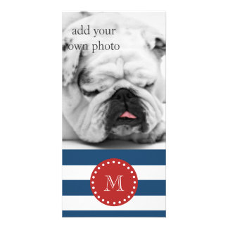 Navy Blue White Stripes Pattern, Red Monogram Photo Cards
