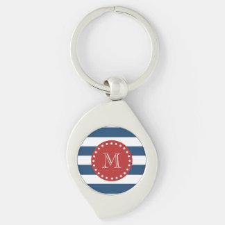 Navy Blue White Stripes Pattern, Red Monogram Keychains