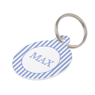 Navy Blue & white stripes | Personalized Pet Tag