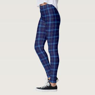 Navy/Blue/White Tartan Pattern Leggings