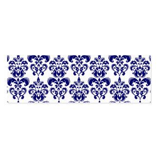 Navy Blue, White Vintage Damask Pattern 2 Business Cards