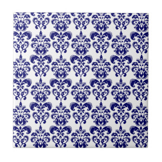 Navy Blue, White Vintage Damask Pattern 2 Small Square Tile