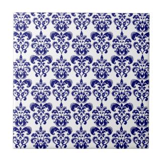 Navy Blue, White Vintage Damask Pattern 2 Tile