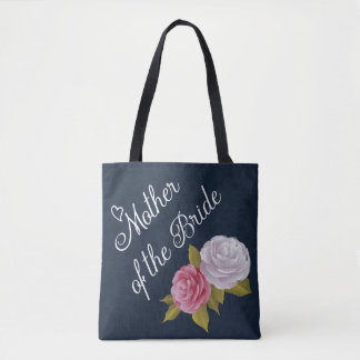 Navy Blue White Vintage Floral Mother of Bride Tote Bag