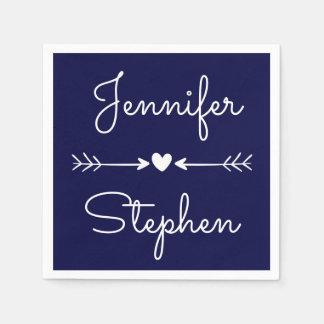 Navy Blue & White  Wedding Heart & Love Arrows Disposable Serviette