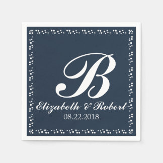 Navy Blue White Wedding Monogram Paper Napkin