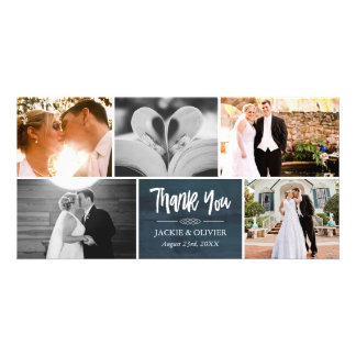 Navy Blue & White Wedding Photo Collage Thank You Card