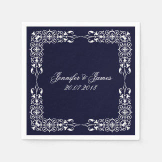 Navy Blue White Wedding Vintage Floral Disposable Serviette