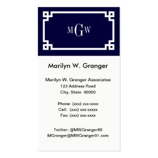 Navy Blue Wht Greek Key #2 Framed 3 Init Monogram Pack Of Standard Business Cards