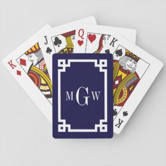 Navy Blue Wht Greek Key #2 Framed 3 Init Monogram Playing Cards