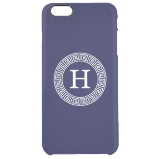 Navy Blue Wht Greek Key Rnd Frame Initial Monogram Clear iPhone 6 Plus Case