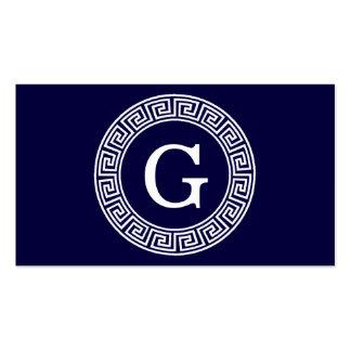 Navy Blue Wht Greek Key Rnd Frame Initial Monogram Pack Of Standard Business Cards