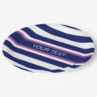 Navy Blue Wht Horiz Stripe Hot Pink Name Monogram 9 Inch Paper Plate