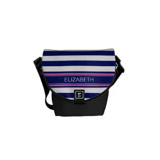 Navy Blue Wht Horiz Stripe Hot Pink Name Monogram Commuter Bags