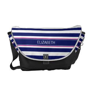 Navy Blue Wht Horiz Stripe Hot Pink Name Monogram Messenger Bags