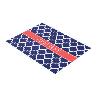 Navy Blue Wht Moroccan #5 Coral Red Name Monogram Doormat